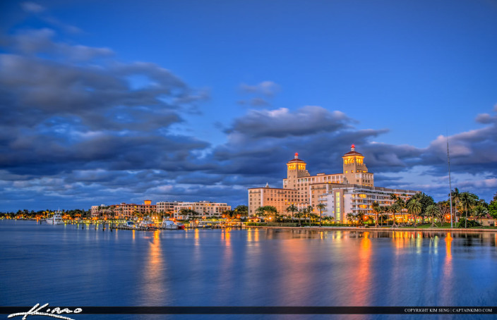 HDR photo of the Biltmore Hotel in Palm Beach Island taken form the old Flagler Bridge in West Palm Beach.